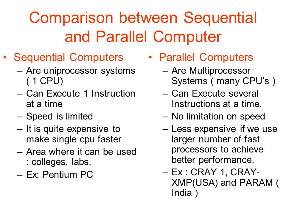 Comparison between Sequential and Parallel Computer