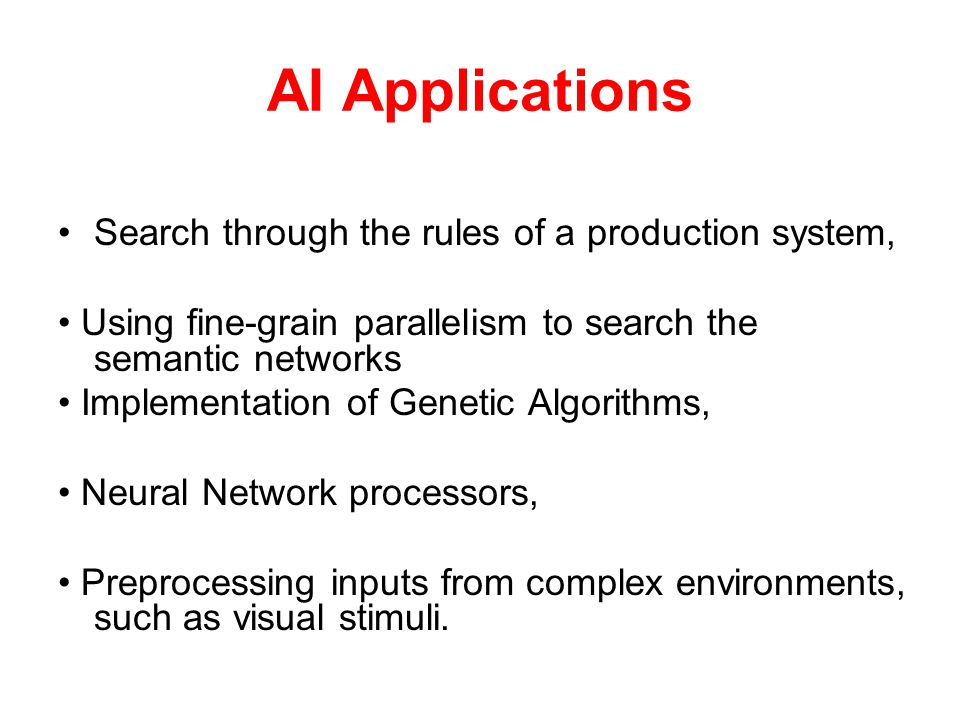 AI Applications Search through the rules of a production system,