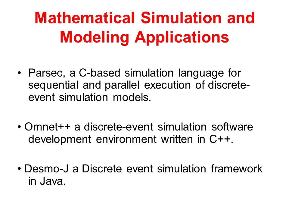 Mathematical Simulation and Modeling Applications