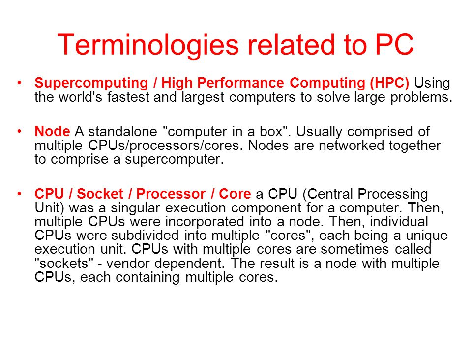 Terminologies related to PC