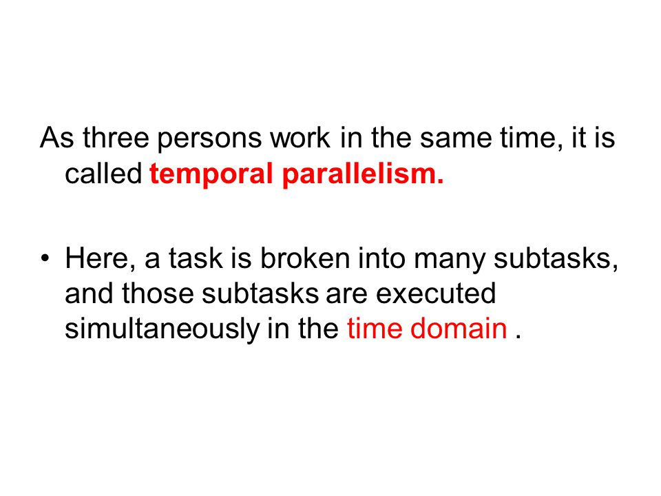 As three persons work in the same time, it is called temporal parallelism.