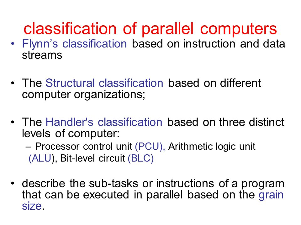 classification of parallel computers
