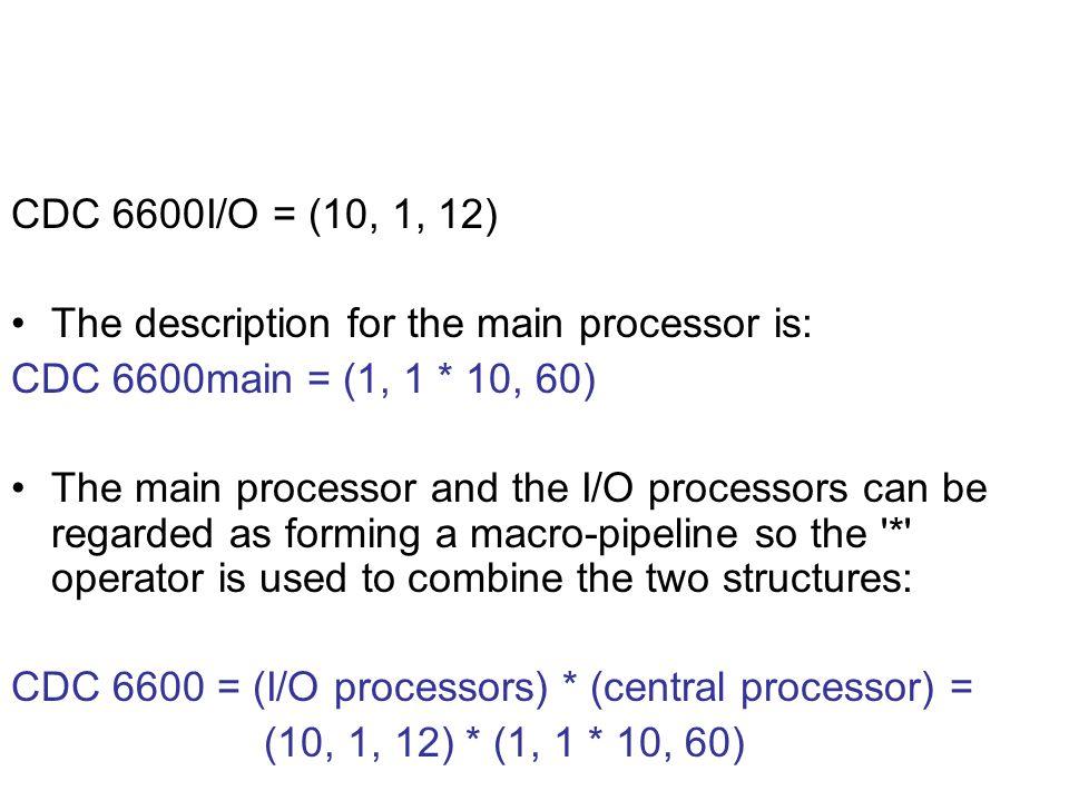 CDC 6600I/O = (10, 1, 12) The description for the main processor is: CDC 6600main = (1, 1 * 10, 60)