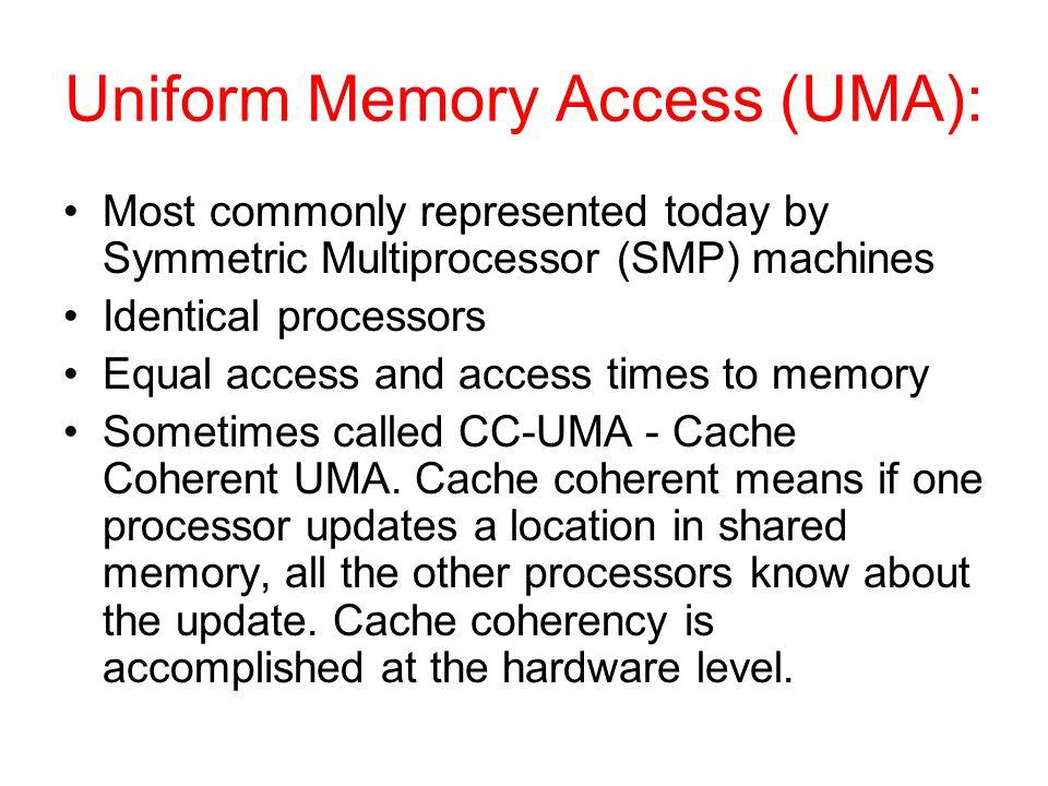 Uniform Memory Access (UMA):