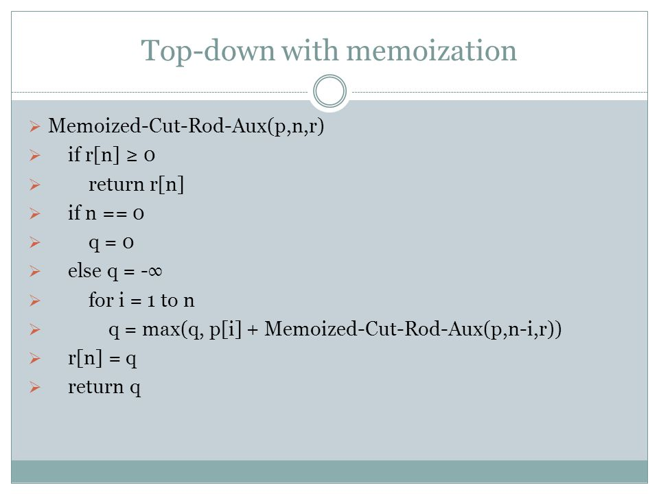 Top-down with memoization