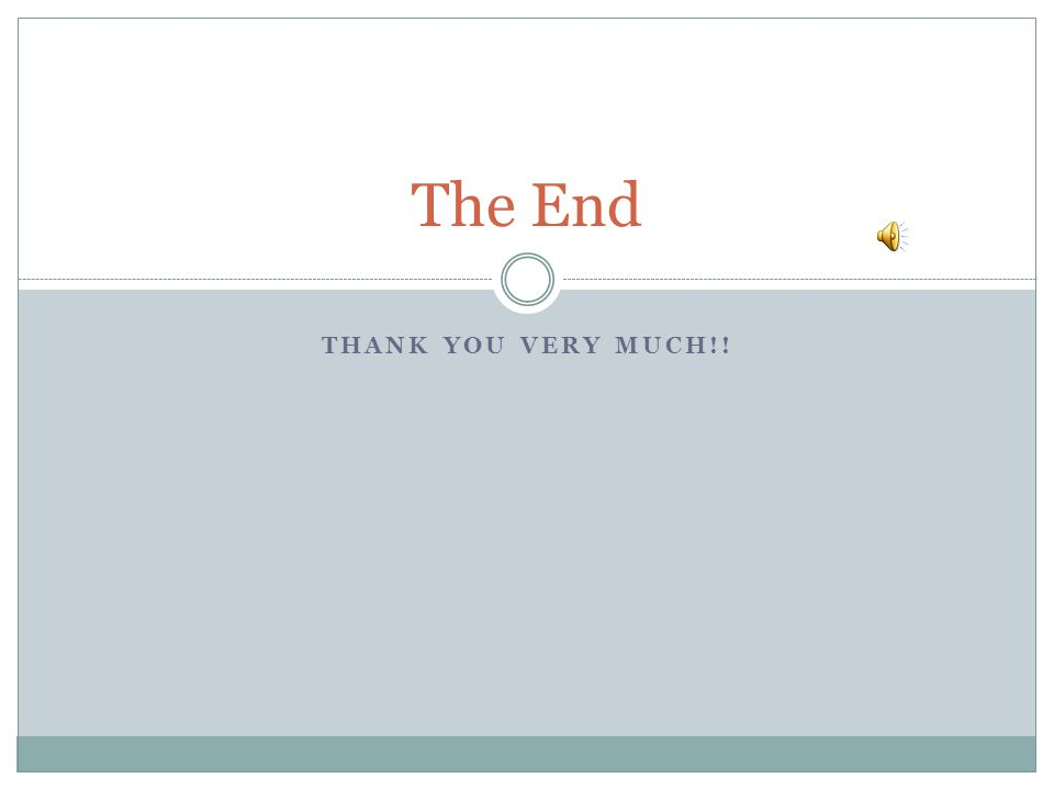 The End THANK YOU VERY MUCH!!