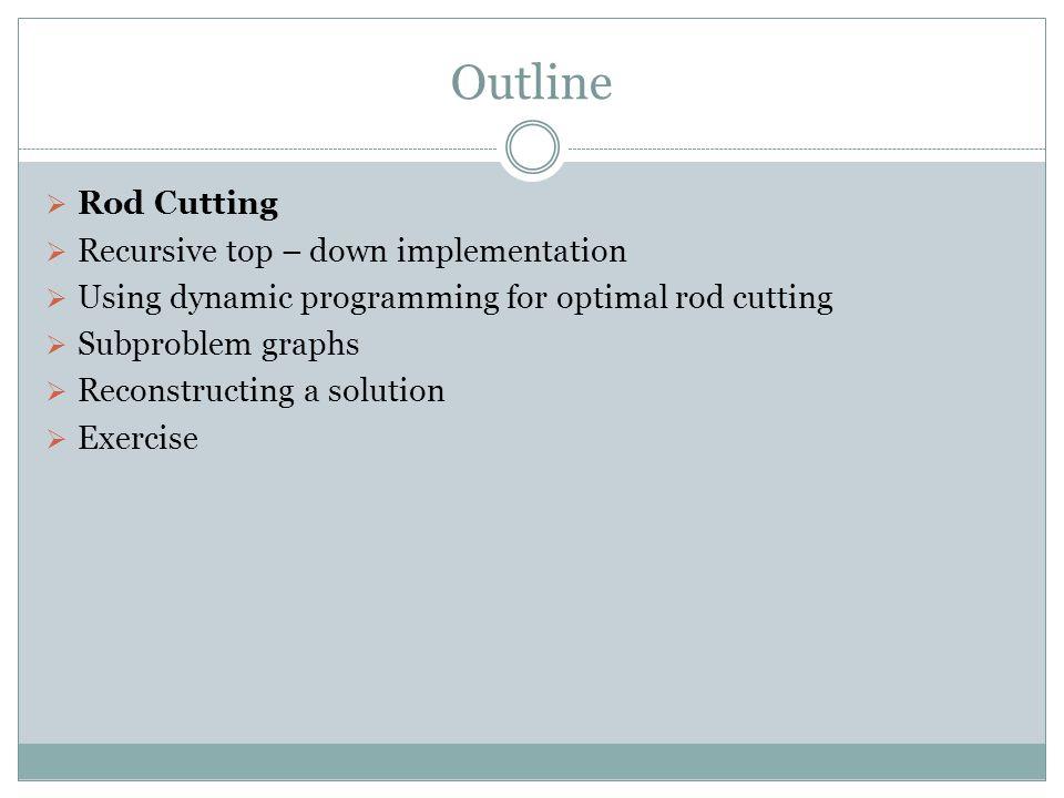 Outline Rod Cutting Recursive top – down implementation