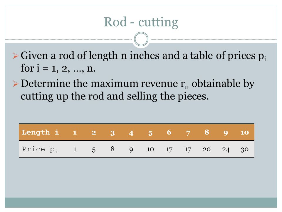Rod - cutting Given a rod of length n inches and a table of prices pi for i = 1, 2, …, n.