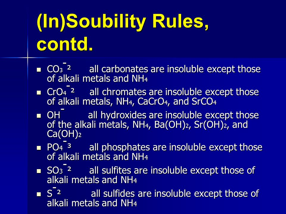 (In)Soubility Rules, contd.