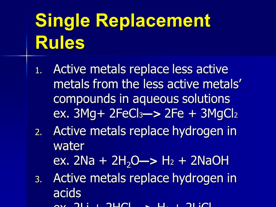 Single Replacement Rules