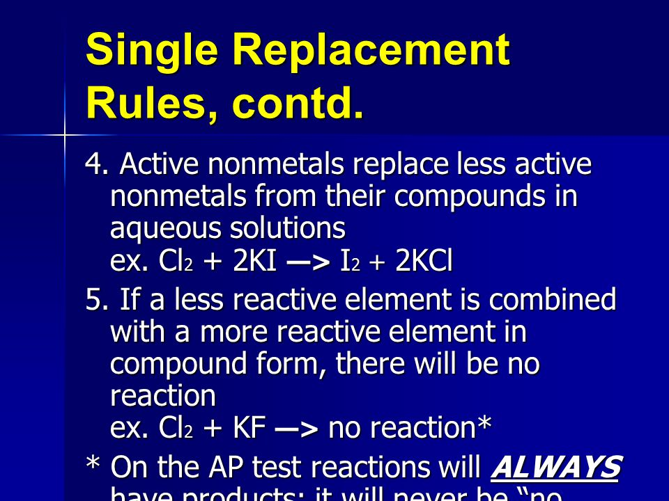 Single Replacement Rules, contd.