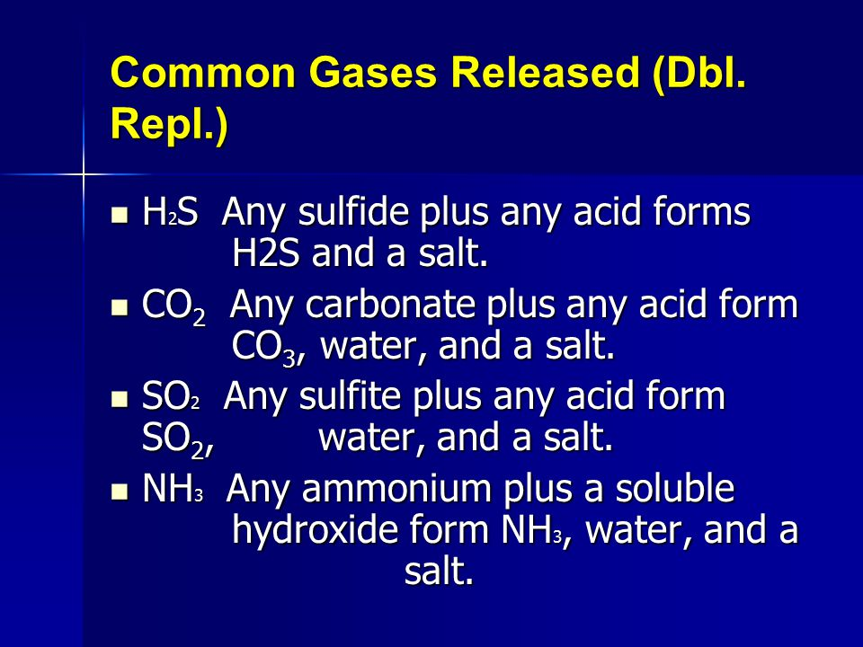Common Gases Released (Dbl. Repl.)