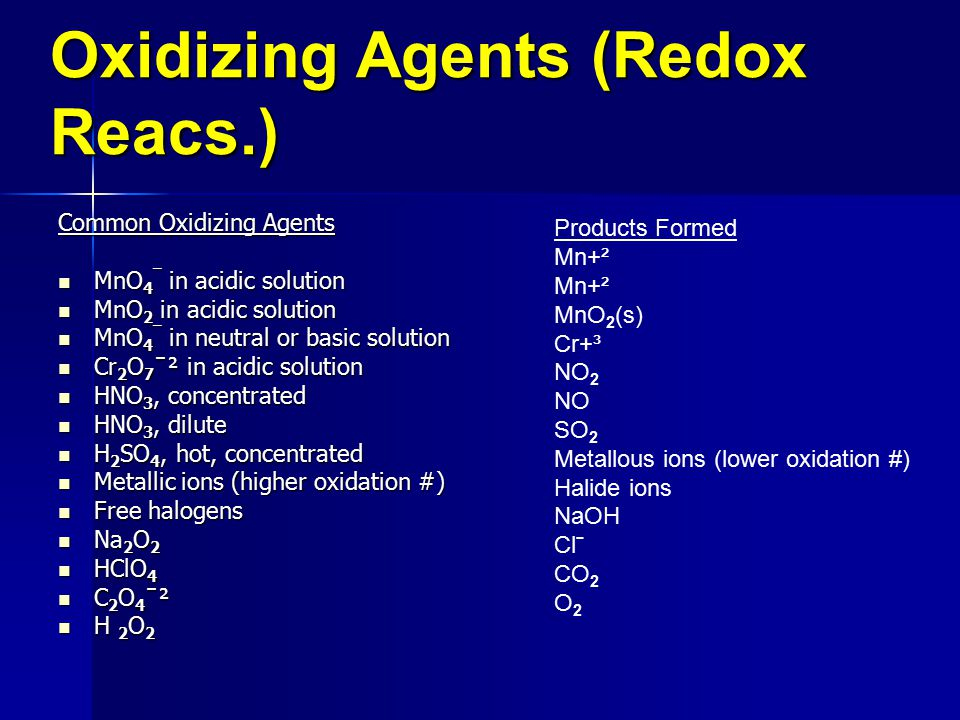 Oxidizing Agents (Redox Reacs.)