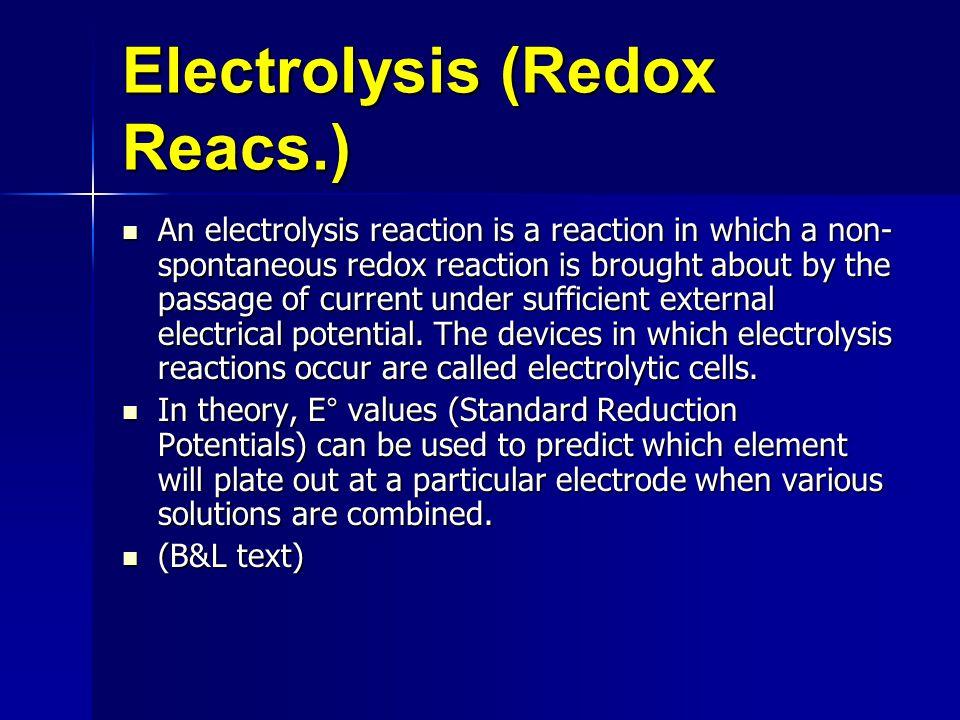 Electrolysis (Redox Reacs.)