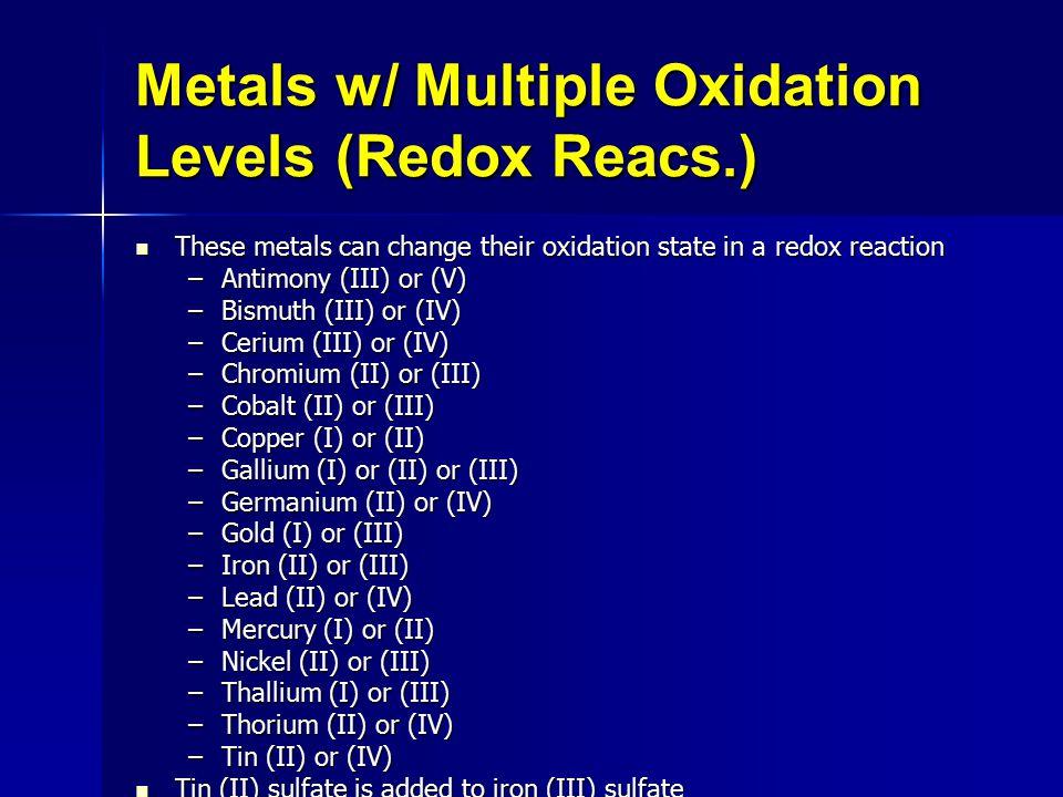 Metals w/ Multiple Oxidation Levels (Redox Reacs.)
