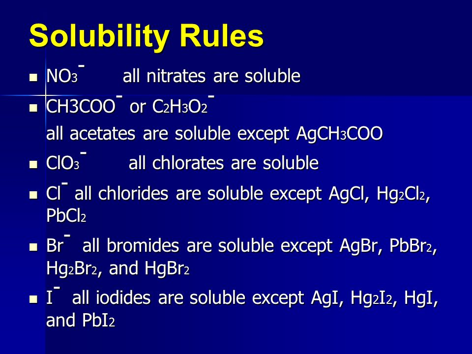 Solubility Rules NO3- all nitrates are soluble CH3COO- or C2H3O2-