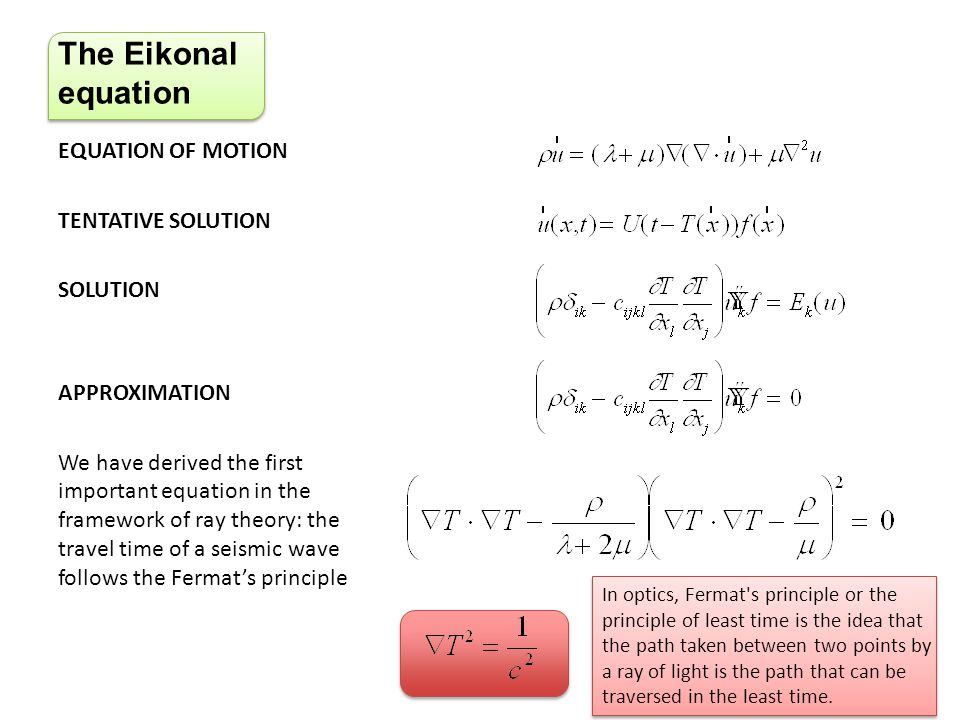 The Eikonal equation EQUATION OF MOTION TENTATIVE SOLUTION SOLUTION