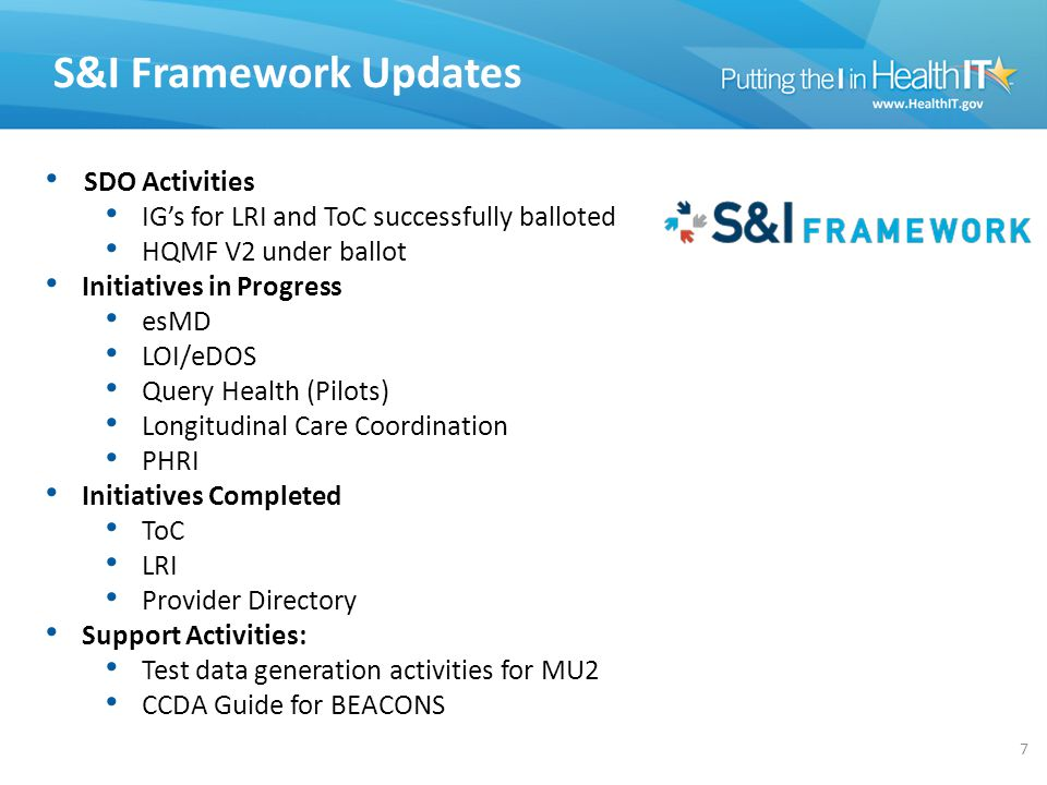 S&I Framework Updates SDO Activities