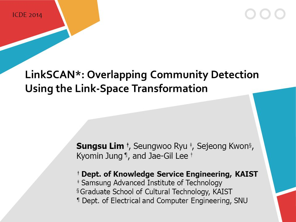 ICDE 2014 LinkSCAN*: Overlapping Community Detection Using the Link-Space Transformation. Sungsu Lim †, Seungwoo Ryu ‡, Sejeong Kwon§,