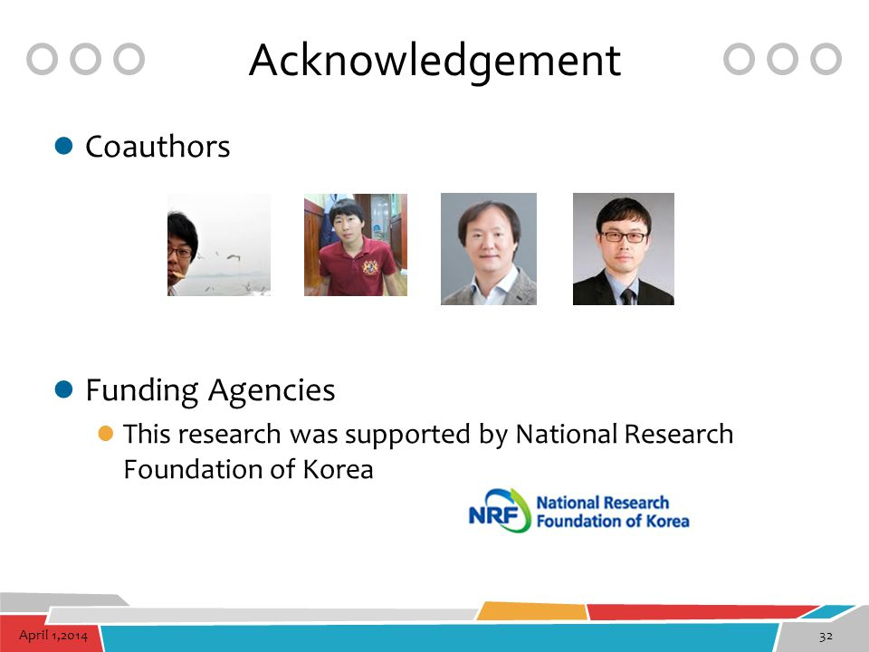 Acknowledgement Coauthors Funding Agencies