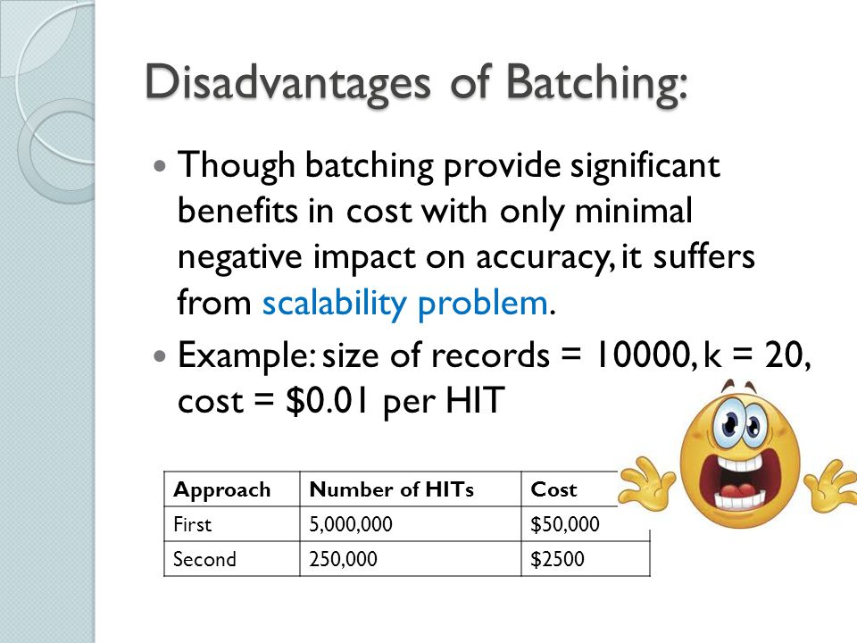 Disadvantages of Batching: