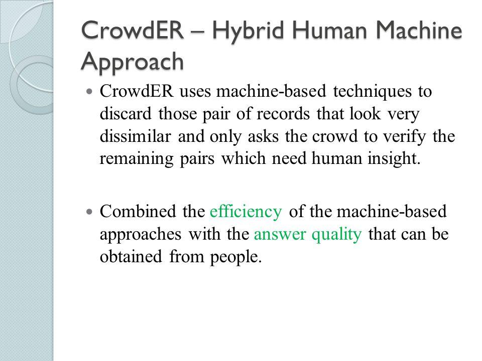 CrowdER – Hybrid Human Machine Approach