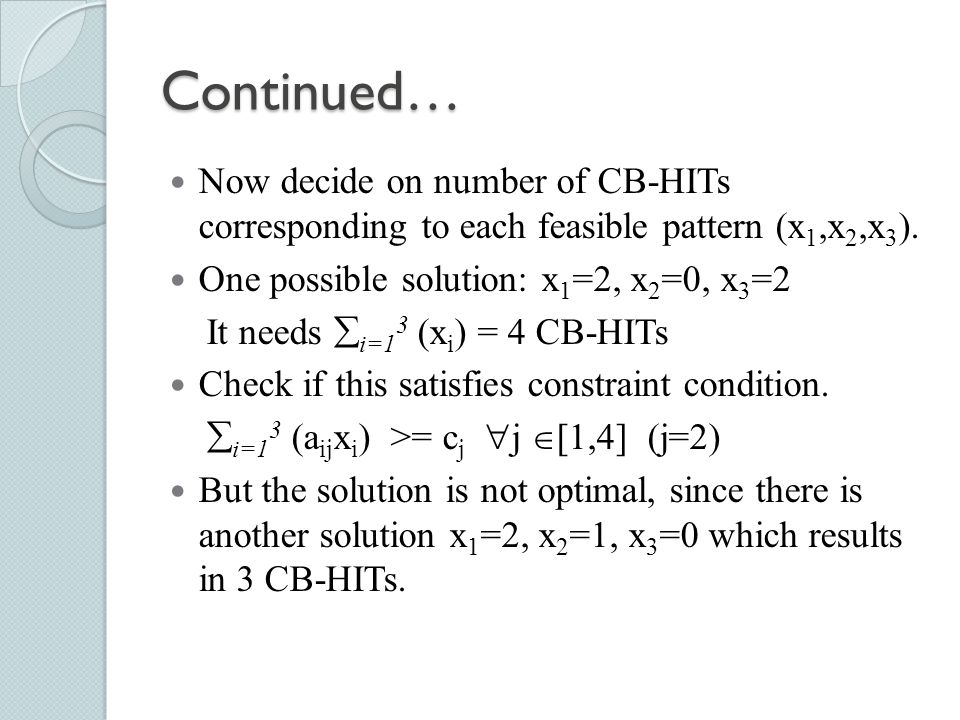 Continued… Now decide on number of CB-HITs corresponding to each feasible pattern (x1,x2,x3). One possible solution: x1=2, x2=0, x3=2.