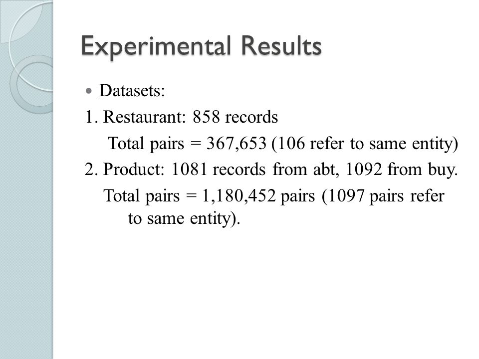 Experimental Results Datasets: 1. Restaurant: 858 records