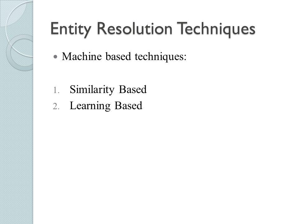 Entity Resolution Techniques