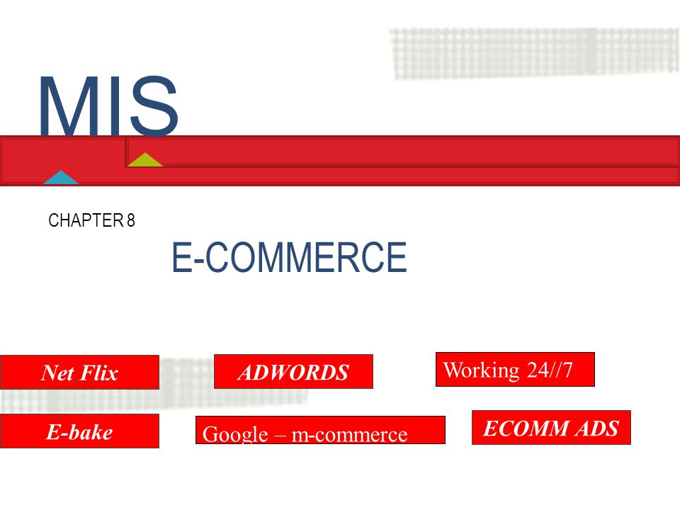 MIS E-COMMERCE Working 24//7 Net Flix ADWORDS ECOMM ADS E-bake