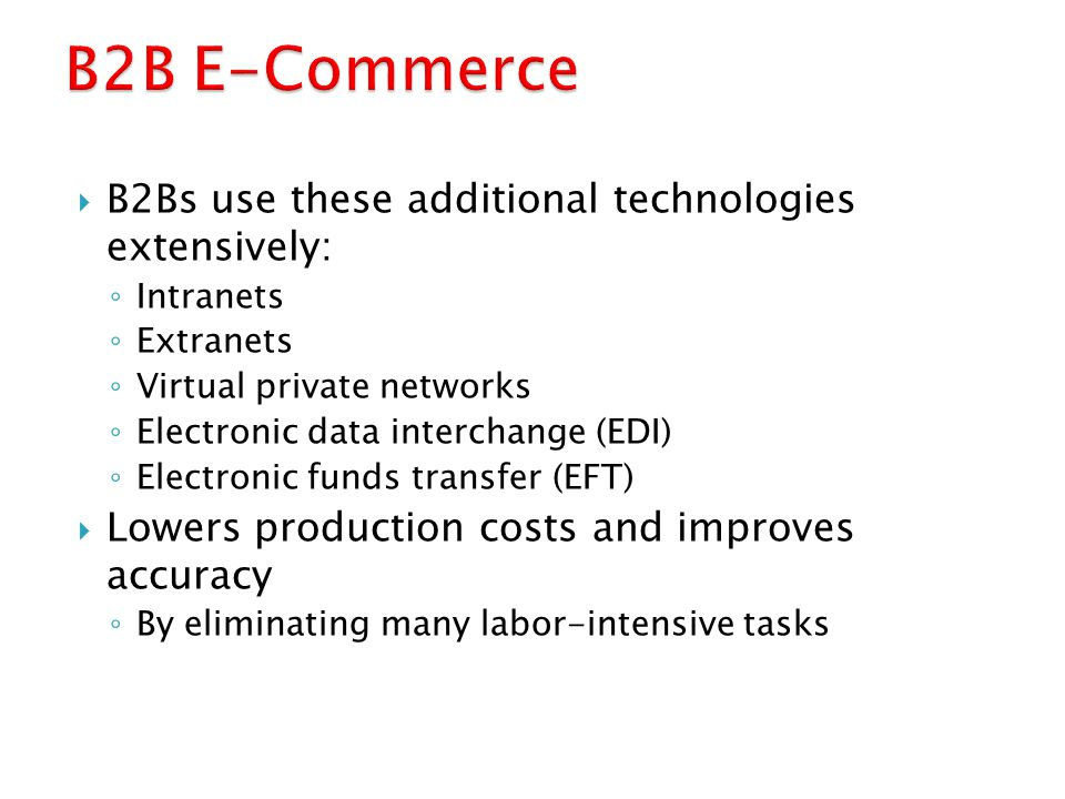 B2B E-Commerce B2Bs use these additional technologies extensively: