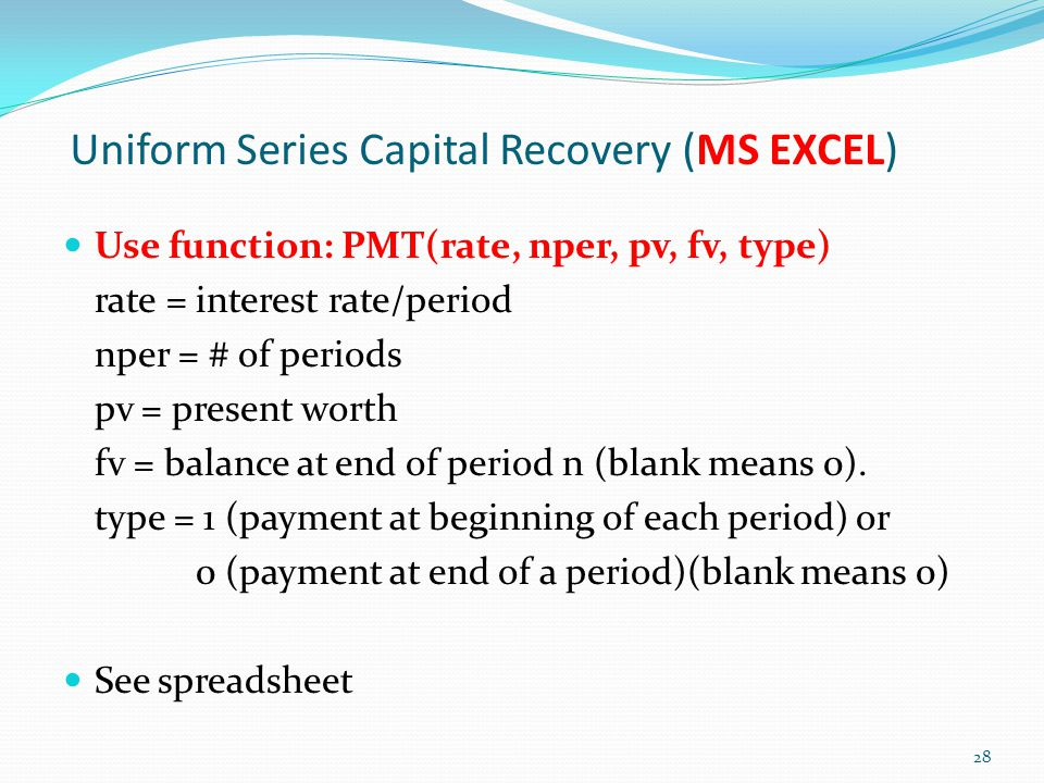 Uniform Series Capital Recovery (MS EXCEL)
