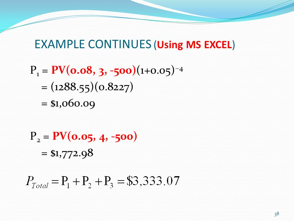 EXAMPLE CONTINUES (Using MS EXCEL)
