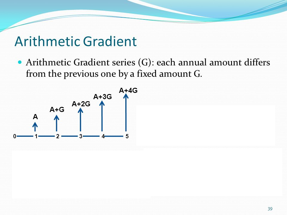 Arithmetic Gradient Arithmetic Gradient series (G): each annual amount differs from the previous one by a fixed amount G.
