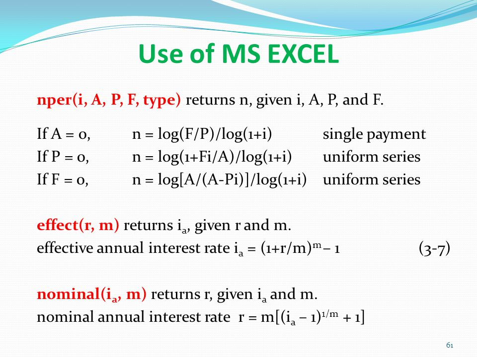 Use of MS EXCEL