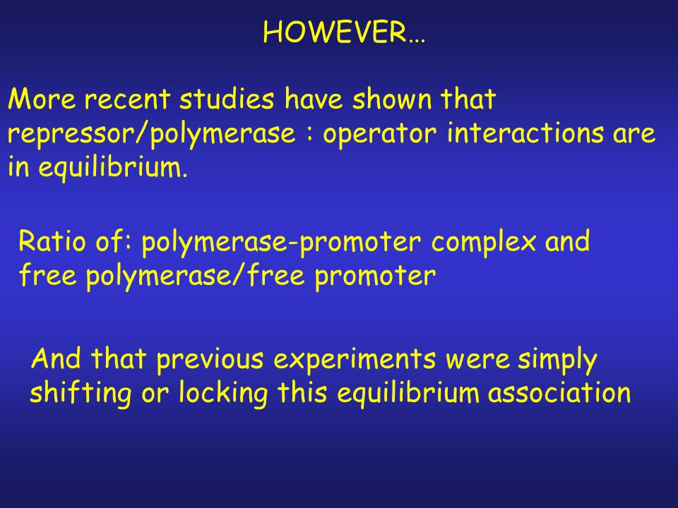 HOWEVER… More recent studies have shown that repressor/polymerase : operator interactions are in equilibrium.