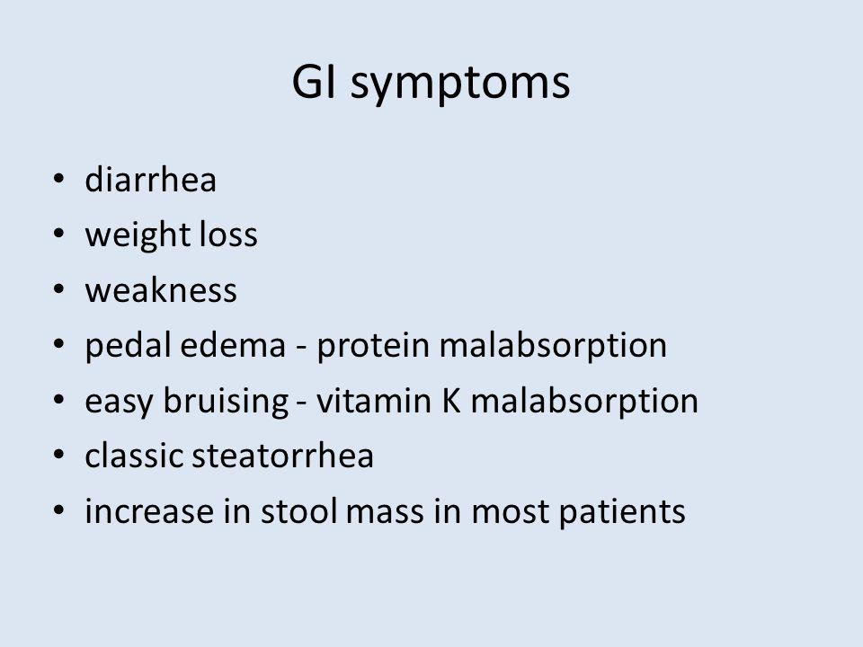 GI symptoms diarrhea weight loss weakness