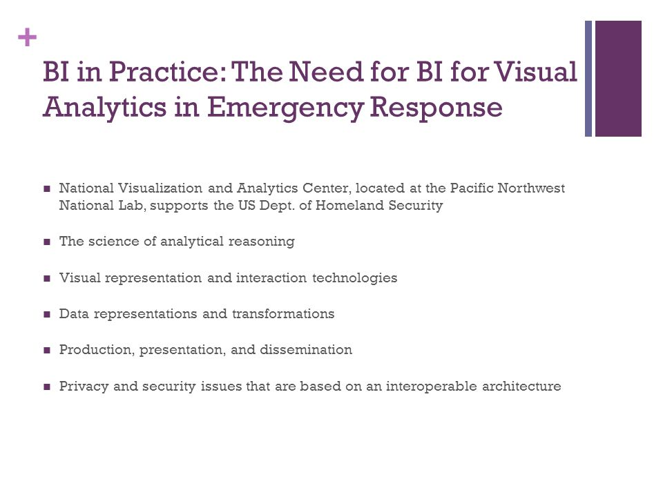 BI in Practice: The Need for BI for Visual Analytics in Emergency Response