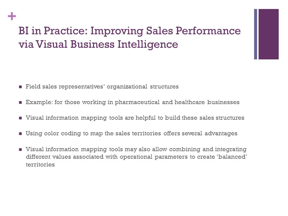 BI in Practice: Improving Sales Performance via Visual Business Intelligence