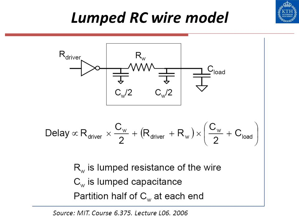 Lumped RC wire model Source: MIT. Course 6.375. Lecture L06. 2006