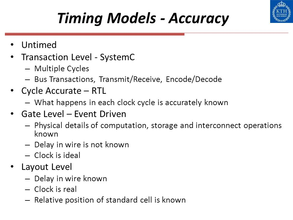Timing Models - Accuracy