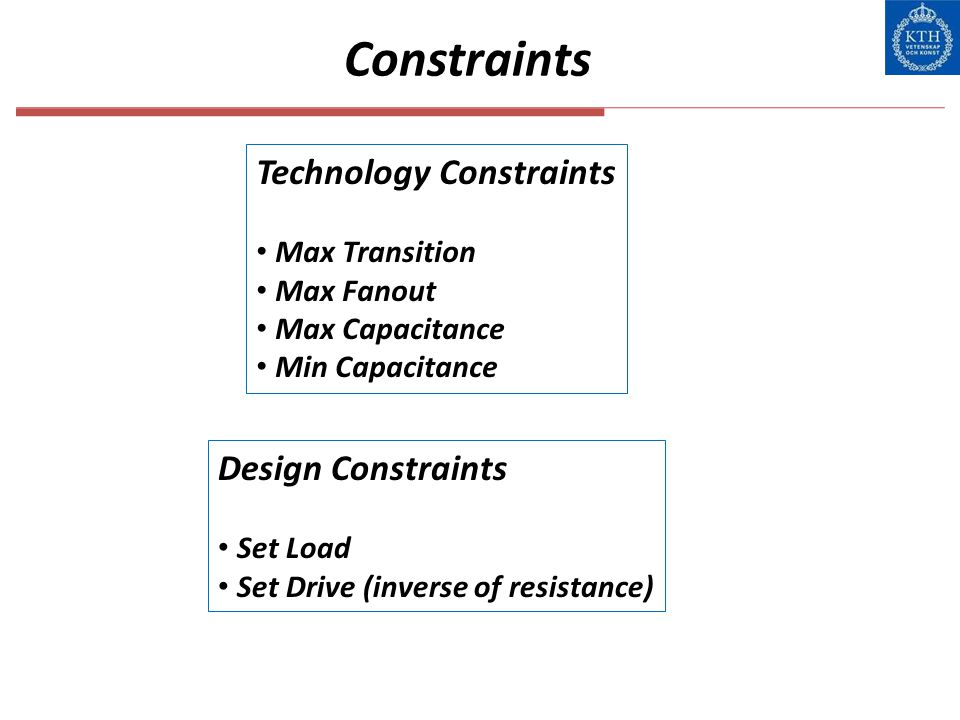Constraints Technology Constraints Design Constraints Max Transition