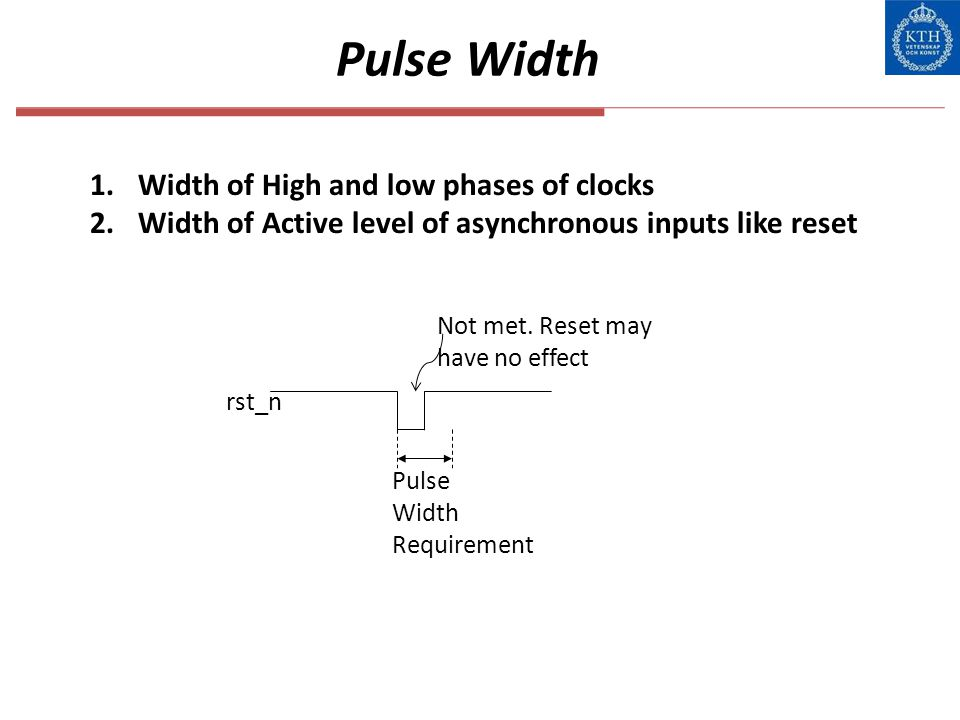 Pulse Width Width of High and low phases of clocks