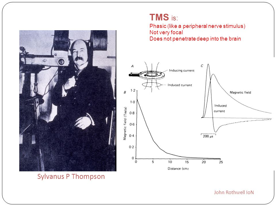 TMS is: Sylvanus P Thompson Phasic (like a peripheral nerve stimulus)