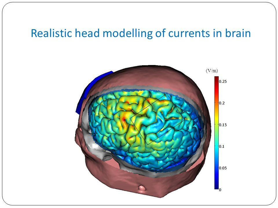 Realistic head modelling of currents in brain