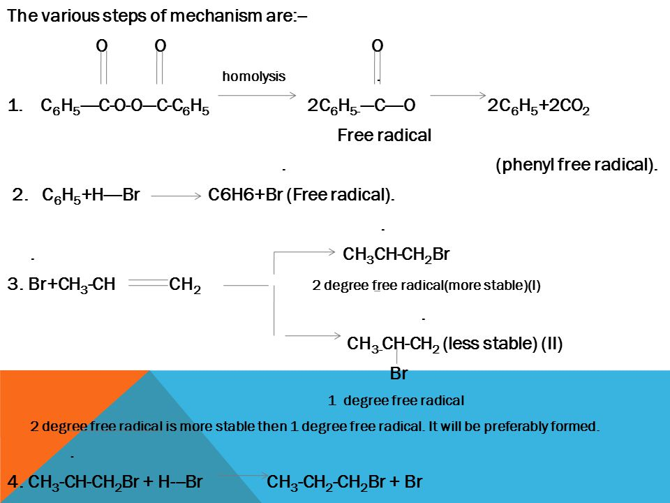 The various steps of mechanism are:-- O O O homolysis .