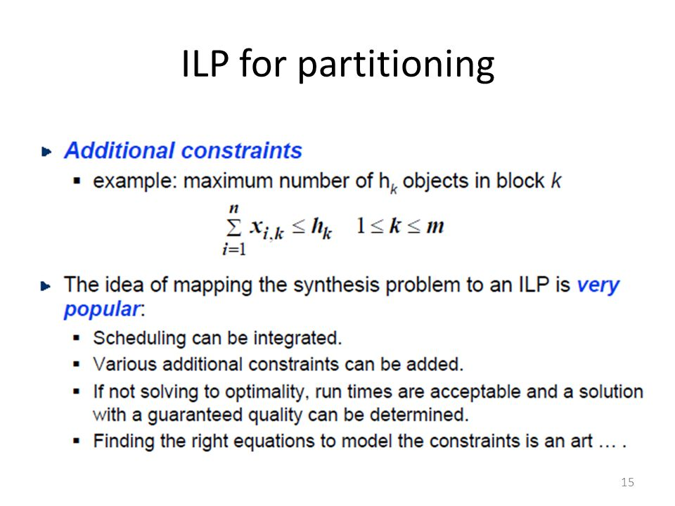 ILP for partitioning