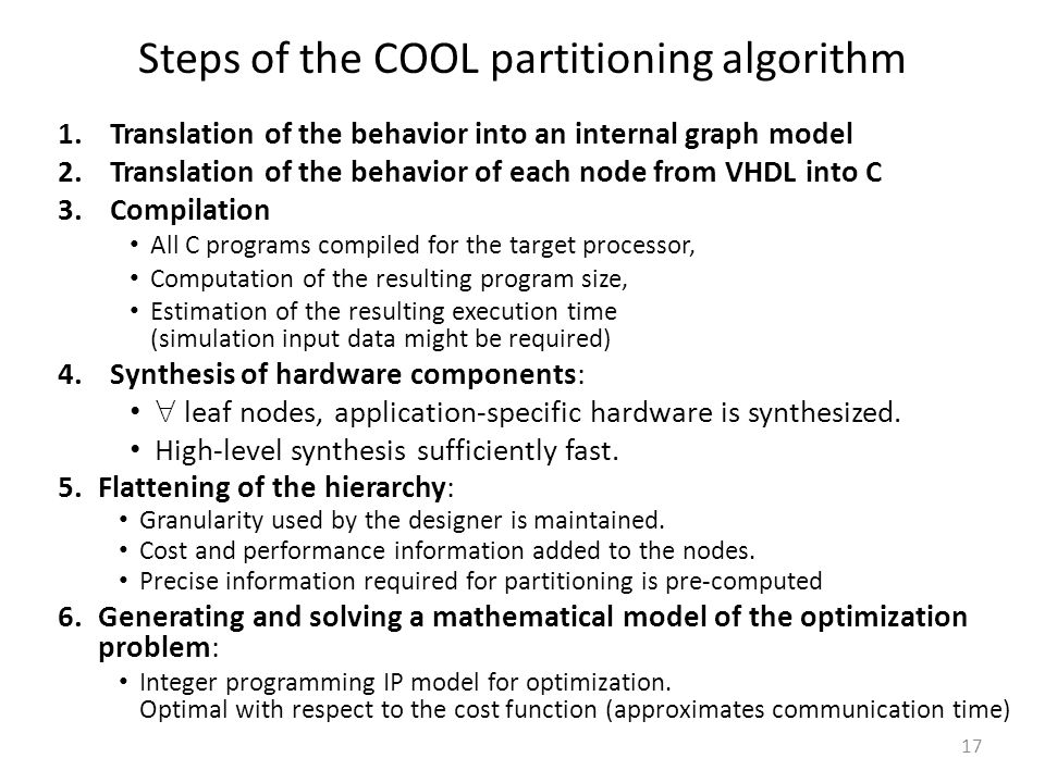 Steps of the COOL partitioning algorithm