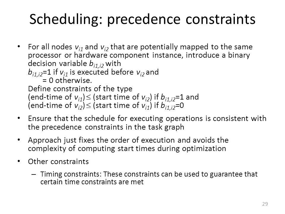 Scheduling: precedence constraints
