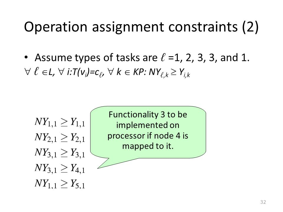 Operation assignment constraints (2)